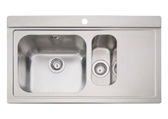 Clearwater Mirage Stainless Steel 1.5 Bowl Sink RHD & Black Glass Chopping Board