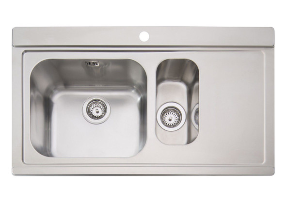 Clearwater Mirage Stainless Steel 1.5 Bowl Sink RHD & White Glass Chopping Board