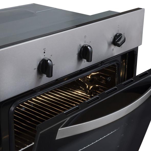 SIA 60cm Stainless Steel Electric True Fan Oven, 4 Burner Gas Hob &Cooker Hood