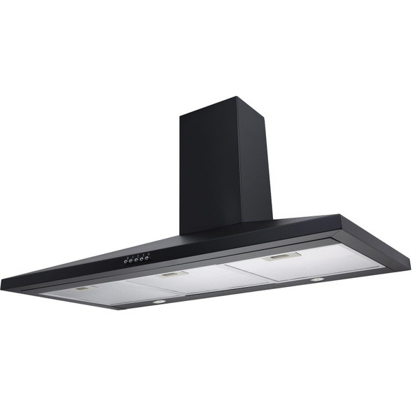 SIA 100cm Black Chimney Kitchen Cooker Hood Extractor Fan And Glass Splashback