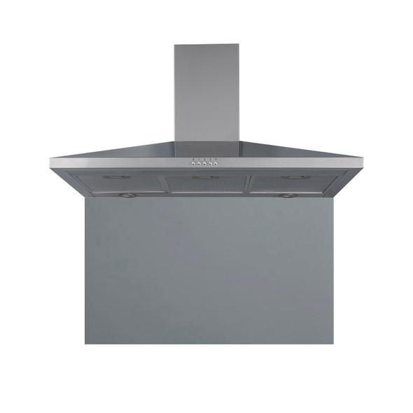 SIA 100cm Stainless Steel Chimney Cooker Hood Extractor &Grey Glass Splashback