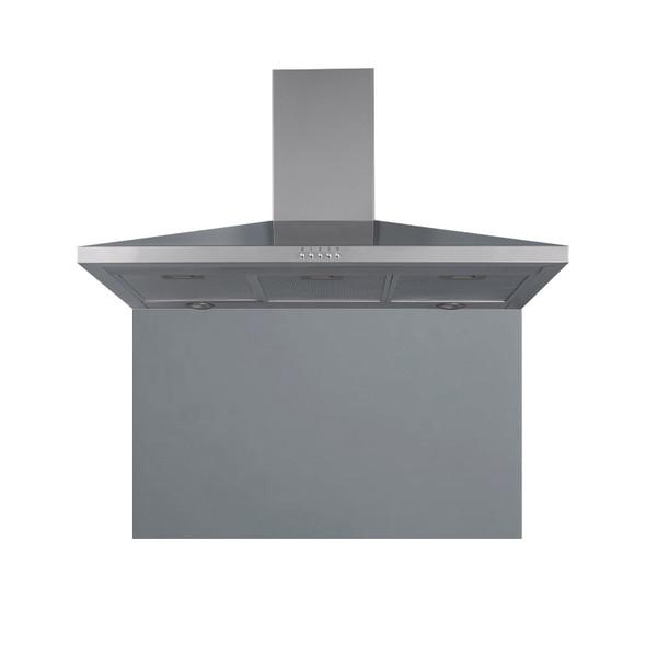 SIA 100cm Stainless Steel Chimney Cooker Hood Extractor &Grey Glass Splashback