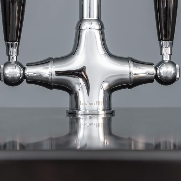 Reginox Brooklyn Polished Chrome Traditional Black Handle Swan Neck Kitchen Tap
