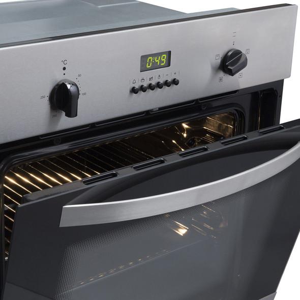 SIA 60cm Stainless Steel Single Electric Digital Fan Oven  & 4 Burner Gas Hob