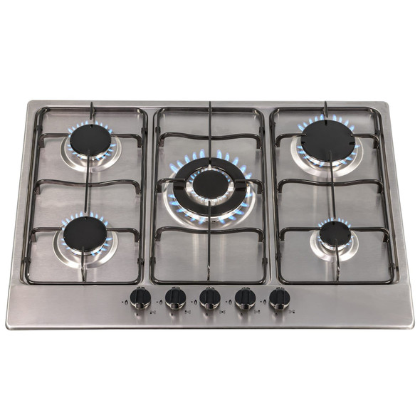 SIA 70cm Stainless Steel 5 Burner Gas Hob And 70cm Curved Glass Cooker Hood Fan