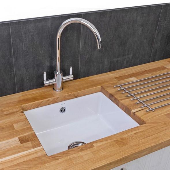 Reginox Mataro 1.0 Bowl White Gloss Ceramic Undermount Kitchen Sink And Waste