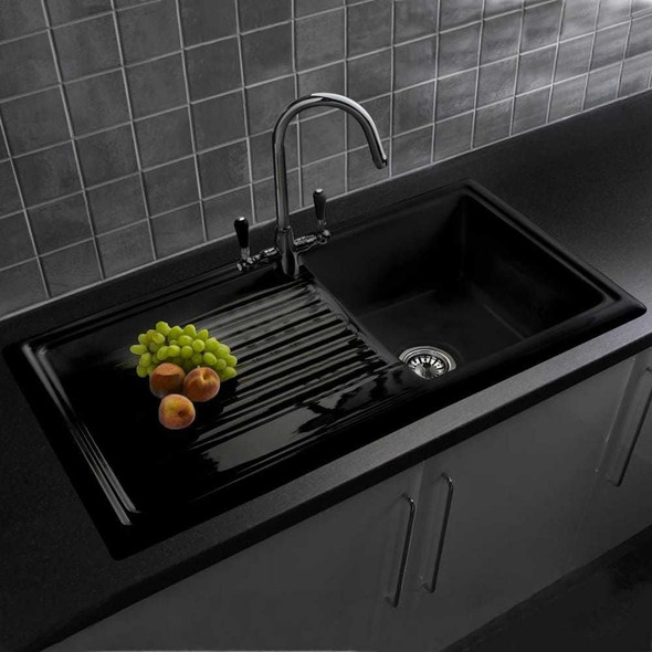 Reginox RL404CB 1.0 Bowl Black Gloss Ceramic Reversible Kitchen Sink  & Waste Kit