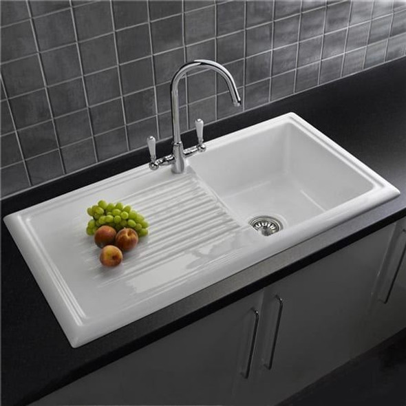 Reginox RL304CW 1.0 Bowl White Gloss Ceramic Reversible Kitchen Sink  & Waste Kit