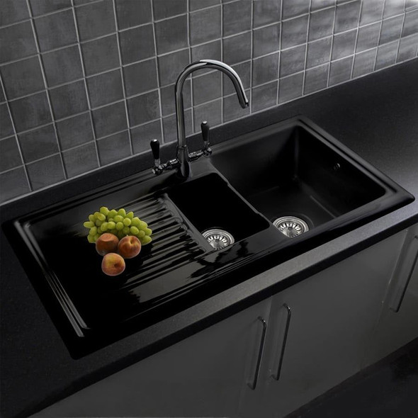 Reginox RL401CB 1.5 Bowl Black Gloss Ceramic Kitchen Sink With Waste  & Fittings