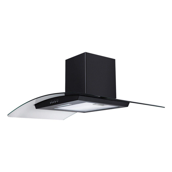 SIA CGH90BL Black 90cm Curved Glass Chimney Cooker Hood Extractor Fan And Filter