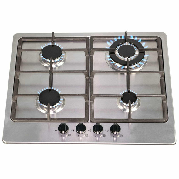 SIA 60cm Stainless Steel 4 Burner Gas Hob & Slim Visor Cooker Hood Extractor Fan