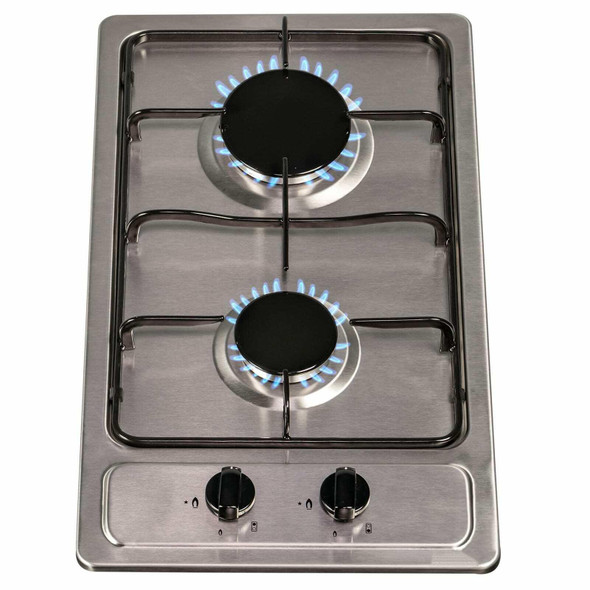 SIA 30cm Stainless Steel 2 Burner Gas Hob & 50cm Visor Cooker Hood Extractor Fan