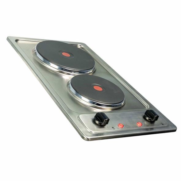 SIA 30cm Stainless Steel Electric 2 Zone Plate Hob & 50cm Visor Cooker Hood Fan