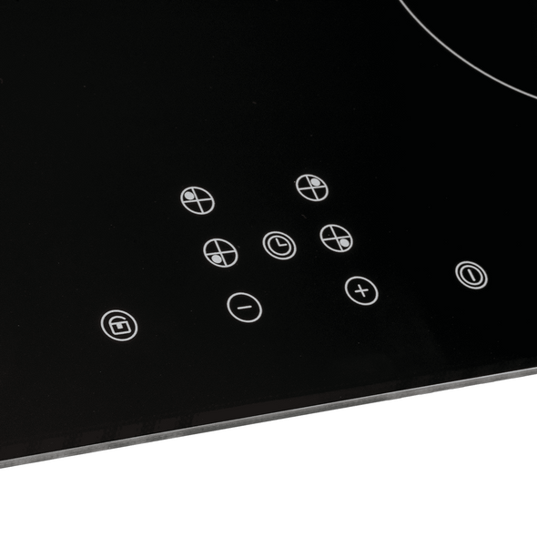 SIA 60cm Black 4 Zone Touch Control Induction Hob & Visor Cooker Hood Extractor