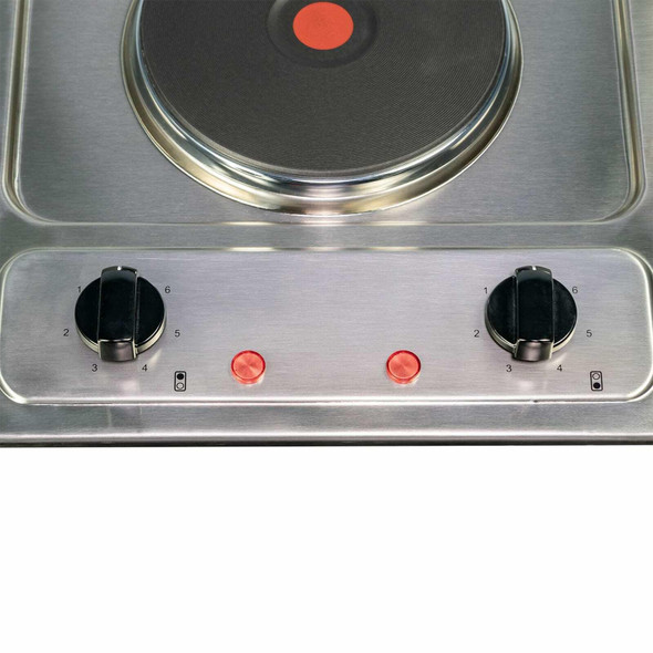 SIA 30cm Stainless Steel Electric 2 Zone Plate Hob & 60cm Visor Cooker Hood Fan