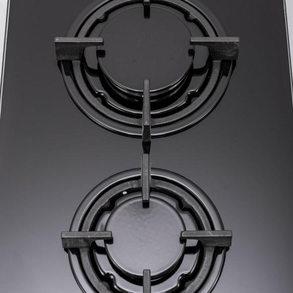 SIA 30cm Domino Black 2 Burner Gas On Glass Hob And 52cm Canopy Cooker Hood Fan