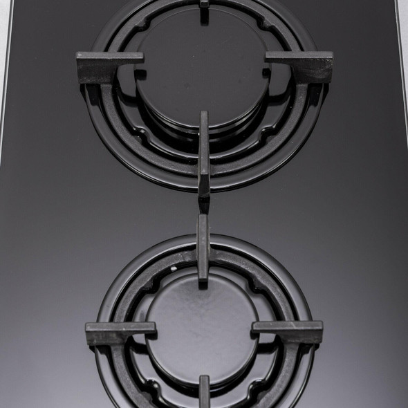 SIA 30cm Domino Black 2 Burner Gas On Glass Hob And 52cm Canopy Cooker Hood Fan