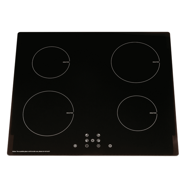 SIA 60cm 4 Zone Black Touch Control Induction Hob And Silver Visor Cooker Hood
