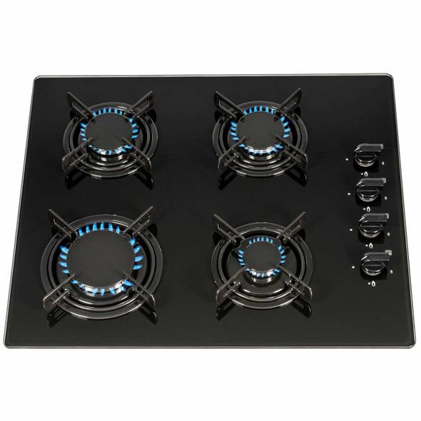 SIA 60cm 4 Burner Black Gas On Glass Hob And Slimline Visor Cooker Hood Fan
