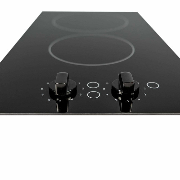 SIA 30cm Black 2 Zone Electric Domino Ceramic Hob & 60cm Visor Cooker Hood Fan