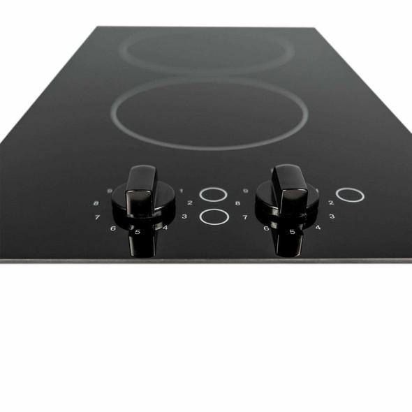 SIA 30cm Black 2 Zone Electric Domino Ceramic Hob & 60cm Visor Cooker Hood Fan