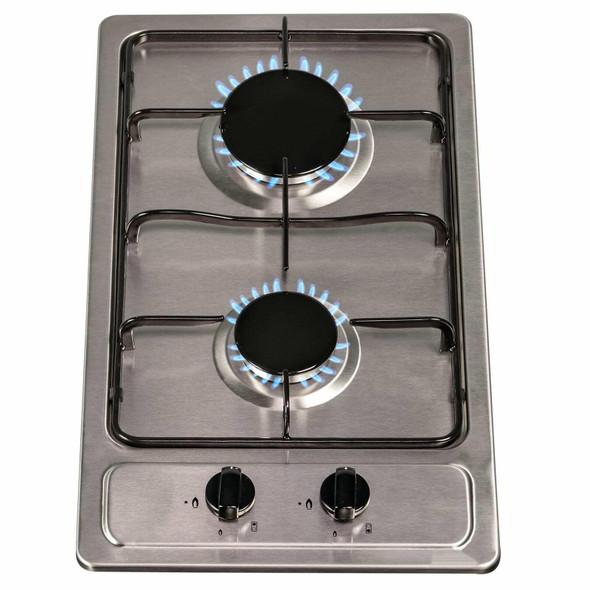 SIA 30cm Stainless Steel 2 Burner Gas Hob & 60cm Cooker Hood Visor Extractor Fan