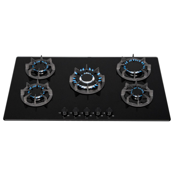 SIA 90cm Black 5 Burner Gas On Glass Hob And Curved Angled Glass Cooker Hood Fan