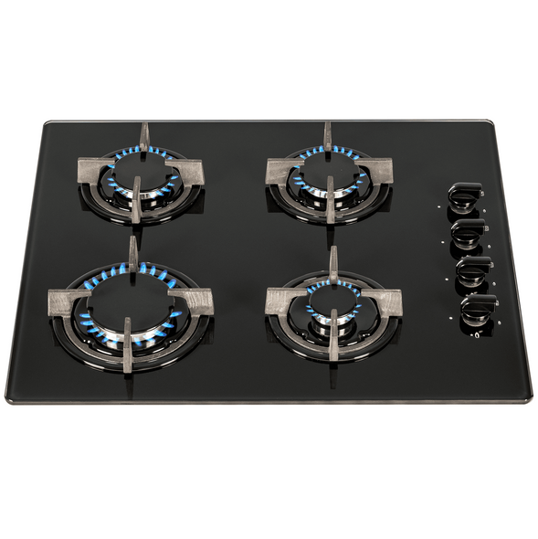 SIA 60cm Black 4 Burner Gas On Glass Hob & Slim Visor Cooker Hood Extractor Fan