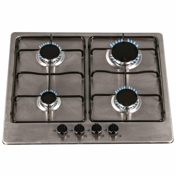 SIA 60cm 4 Burner Gas Hob & Stainless Steel Slim Visor Cooker Hood Extractor Fan