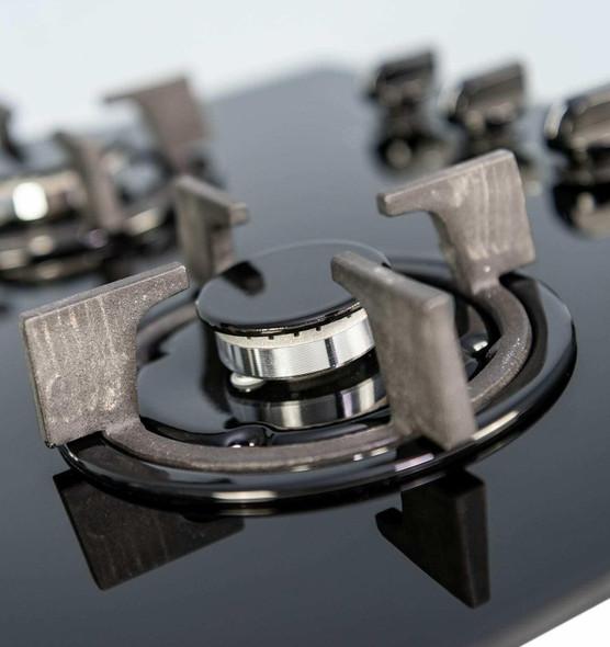 SIA 60cm 4 Burner Black Gas On Glass Hob & Slim Visor Cooker Hood Extractor Fan