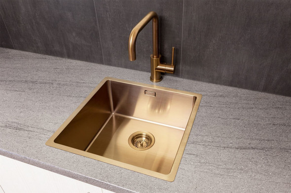 Reginox Miami 40x40cm Copper Single Bowl Stainless Steel Undermount Kitchen Sink