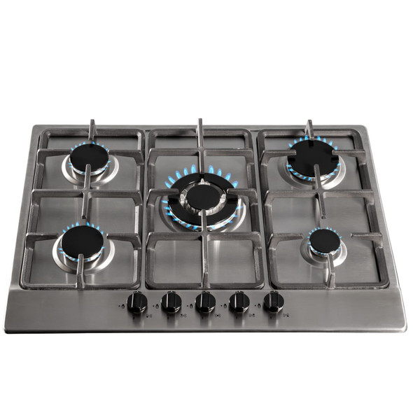 SIA 70cm Stainless Steel 5 Burner Gas Hob And Extractor Chimney Cooker Hood Fan