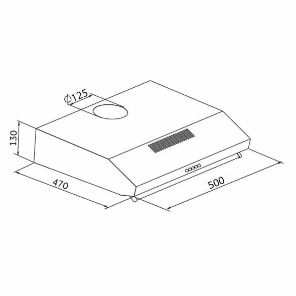 SIA STH50SI 50cm Silver Slimline Visor Cooker Hood Kitchen Extractor Vent Fan