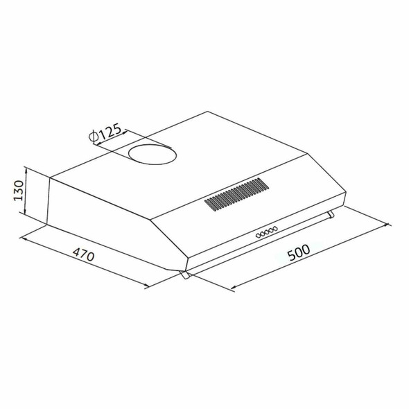 SIA STH50SI 50cm Silver Slimline Visor Cooker Hood Extractor Fan and 1m Ducting