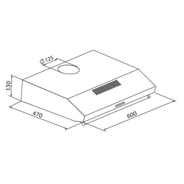 SIA VSR60SI 60cm Silver Slimline Visor Cooker Hood Extractor Fan & 3m Ducting