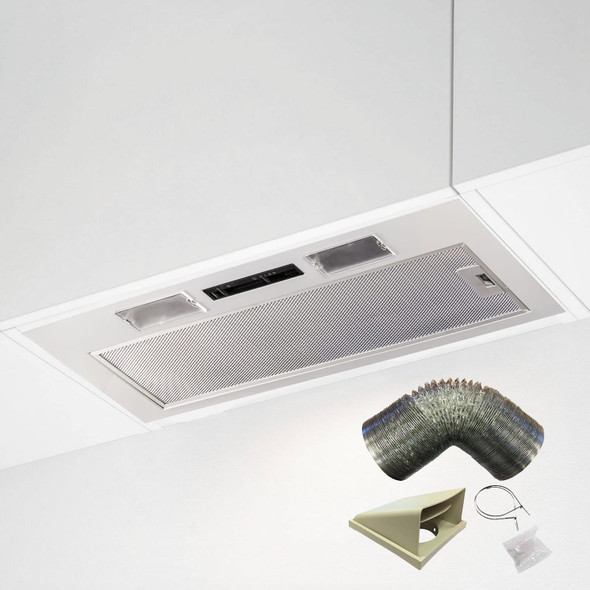SIA 70cm Under Cupboard Canopy Built In Cooker Hood Extractor Fan + 3m Ducting