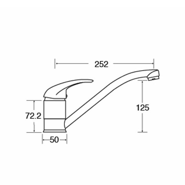 CDA TC10 Chrome Standard Contemporary Single Lever Swivel Monobloc Kitchen Tap