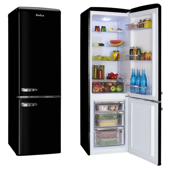 Amica FKR29653B 55cm Black 60/40 Retro Style Freestanding Tall A+ Fridge Freezer