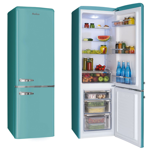 Amica FKR29653DEB 55cm Duck Egg Blue 60/40 Retro Freestanding A+ Fridge Freezer
