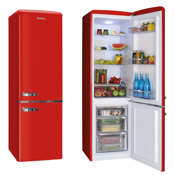 Amica FKR29653R 55cm Red 60/40 Retro Style Freestanding Tall A+ Fridge Freezer