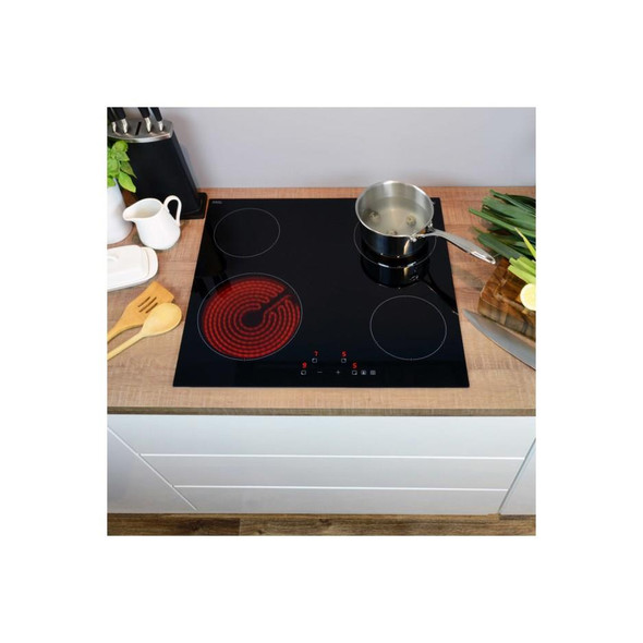 CDA HC6621FR 60cm Four Zone Touch Control Frameless Black Easy Clean Ceramic Hob