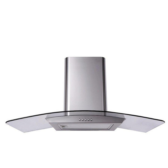SIA CGH110SS 110cm Stainless Steel Curved Glass Chimney Cooker Hood & 3m Ducting