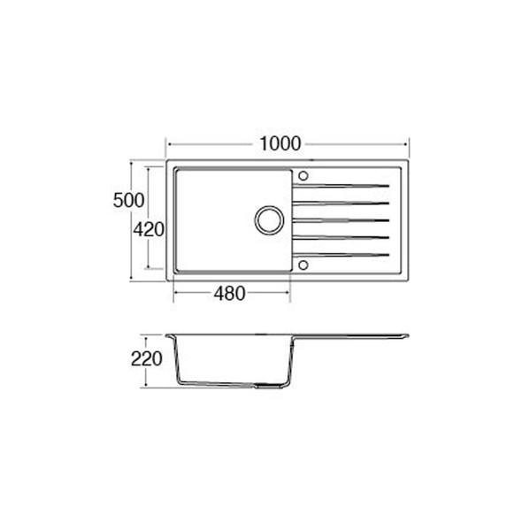 CDA KG43BL 1.0 Bowl Black Granite Quartz Composite Reversible Kitchen Sink