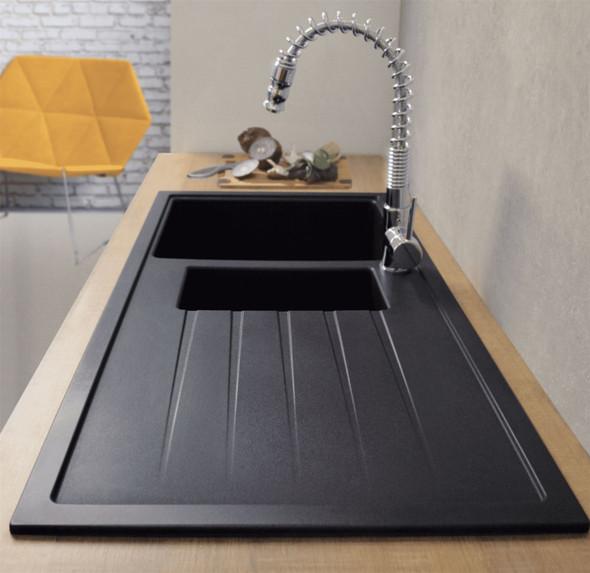 CDA KG44BL 1.5 Bowl Black Granite Quartz Composite Reversible Kitchen Sink