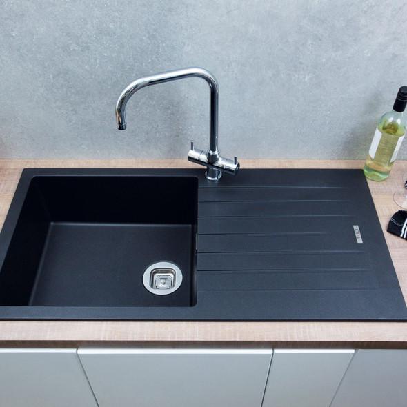 CDA KG73BL 1.0 Bowl Black Granite Quartz Composite Reversible Kitchen Sink