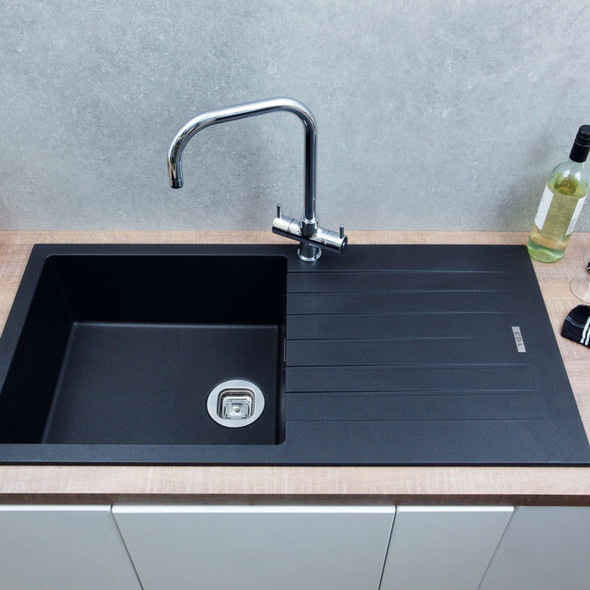 CDA KG73BL 1.0 Bowl Black Granite Quartz Composite Reversible Kitchen Sink