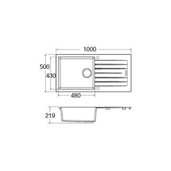 CDA KG73GR 1 Bowl Graphite Grey Granite Quartz Composite Reversible Kitchen Sink