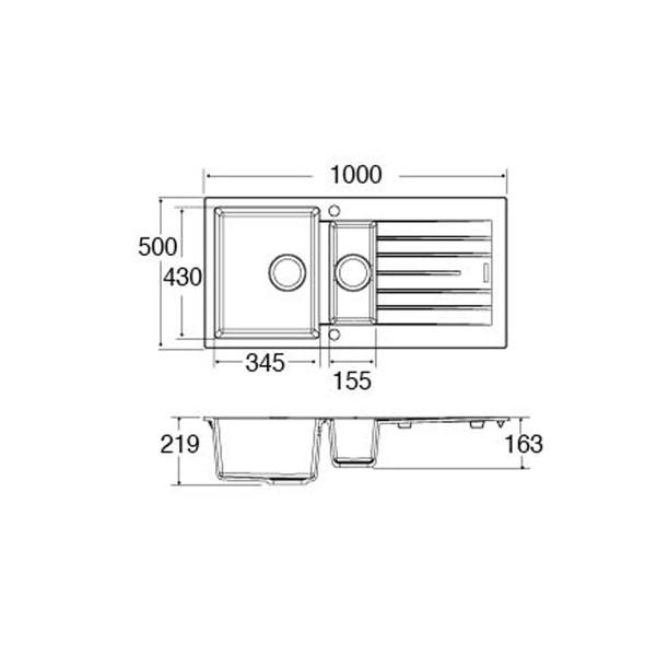 CDA KG74GR 1.5 Bowl Graphite Granite Quartz Composite Reversible Kitchen Sink
