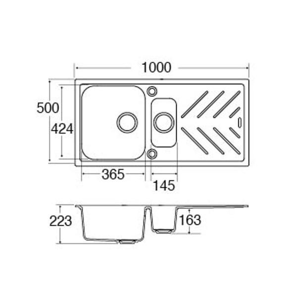 CDA KG82GR 1.5 Bowl Graphite Grey Composite Kitchen Sink With Steel Drainer Bars