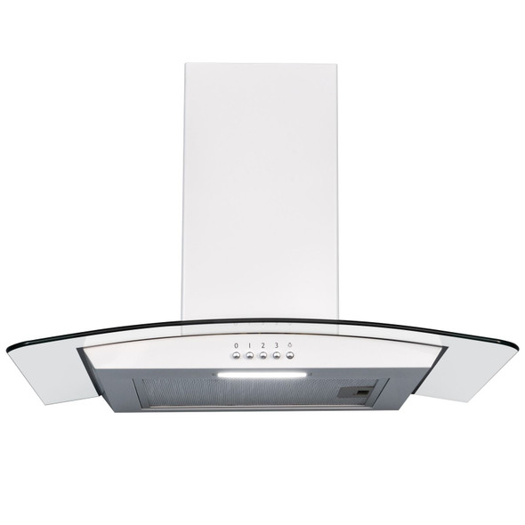 SIA 60cm White Curved Glass Cooker Hood Kitchen Extractor Fan And Carbon Filter